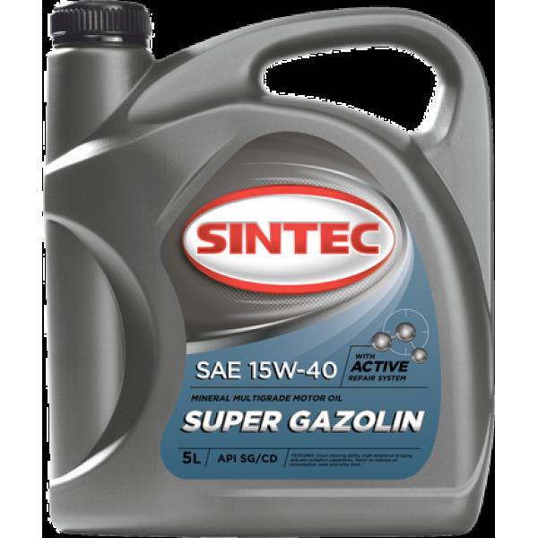 Масло ДВС 15W-40 SINTEC Super Gazolin SG/CD,   5л, минерал